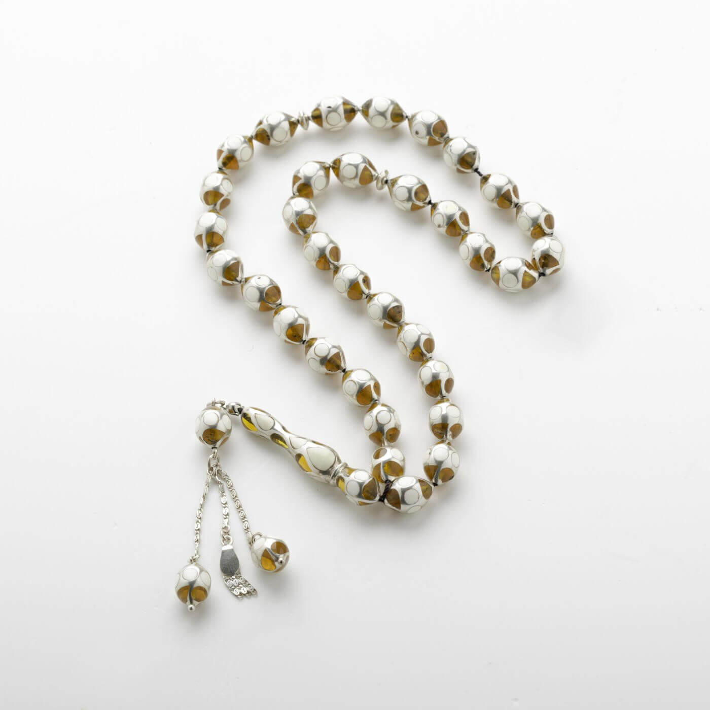 Ivory kahraman Prayer Beads with Silver2