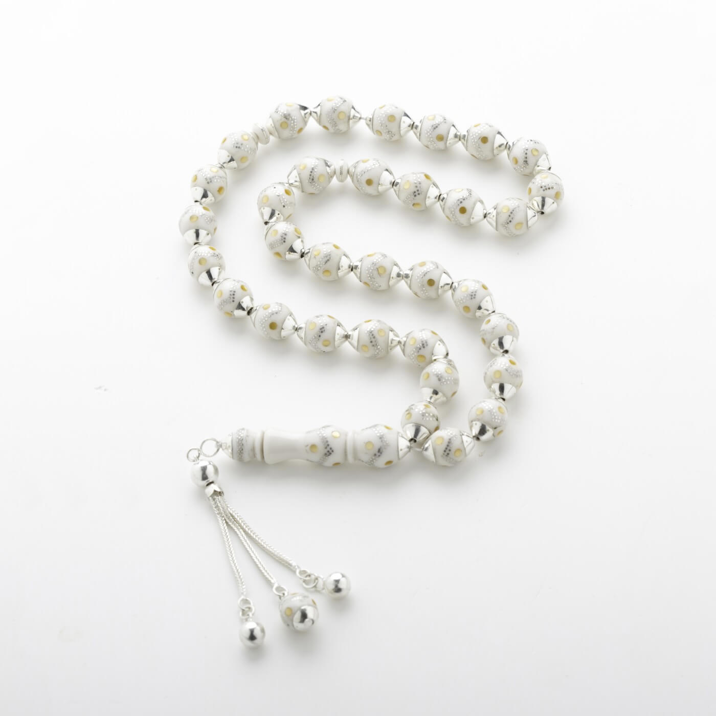 Ivory Prayer Beads with Silver Dots