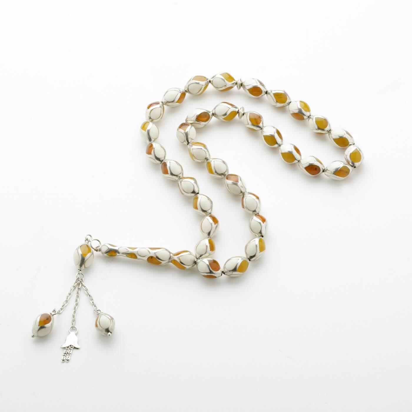 Ivory kahraman Prayer Beads with Silver1