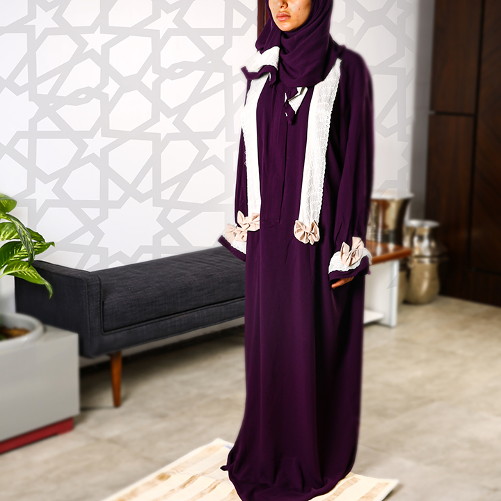 Plain Prayer Wear with Zipper L/XL Purple