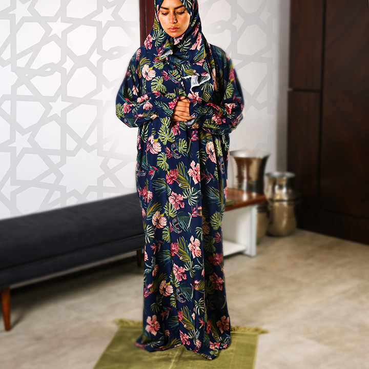 Floral Prayer Wear with Buttons - S/M - Pattern 5