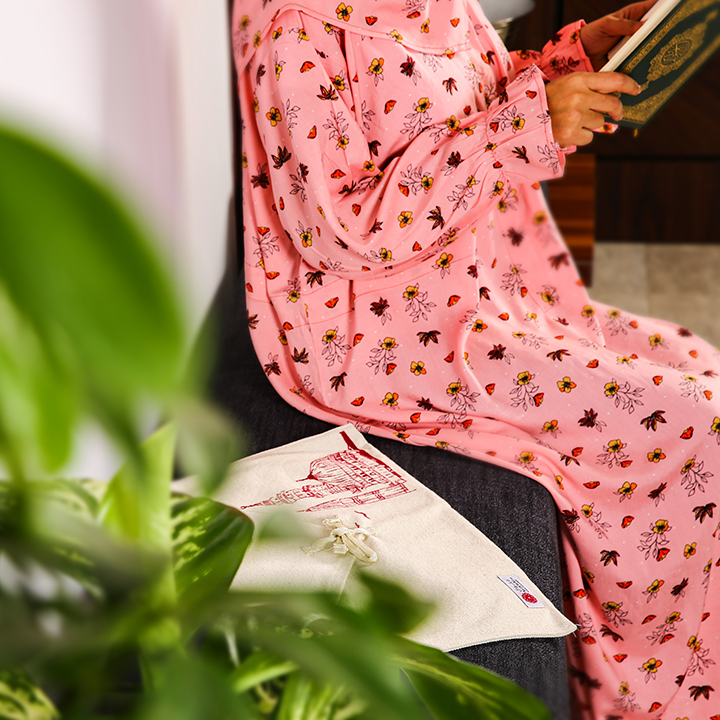 Floral Prayer Wear with Belt- L/XL - Pattern 4