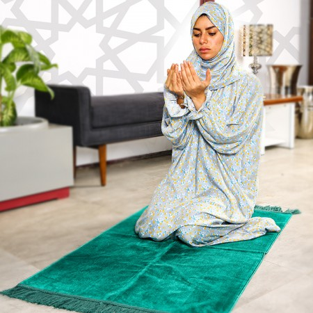 Plain Prayer Wear  (Sharshaf Salat Mosjar) with Buttons - S/M - pattern 3
