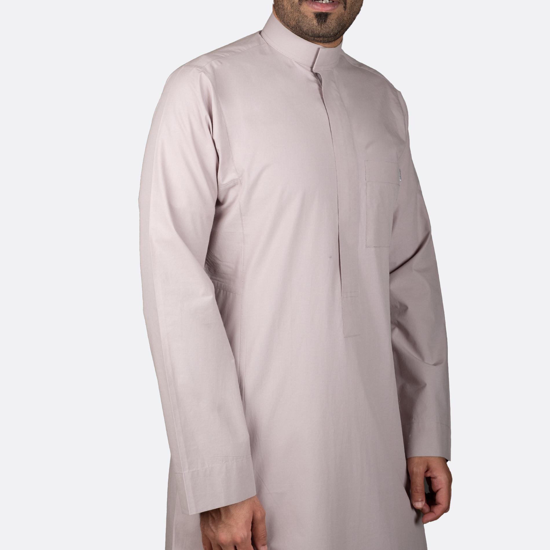 ثوب كلاسيكي قطن بني فاتح سحاب