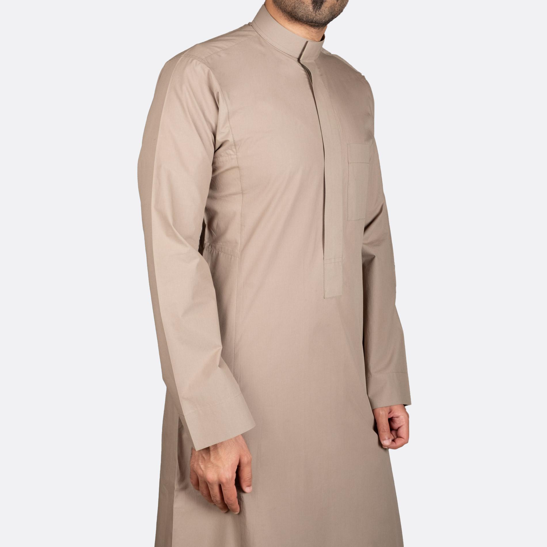 ثوب كلاسيكي قطن زيتوني سحاب