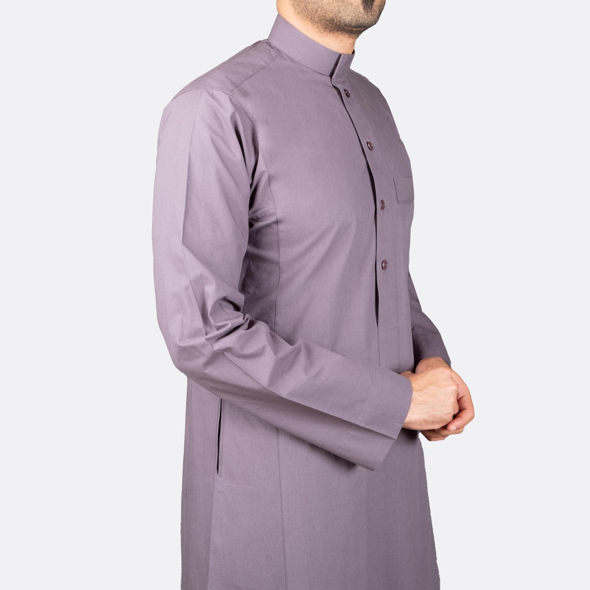 ثوب كلاسيكي قطن رمادي غامق
