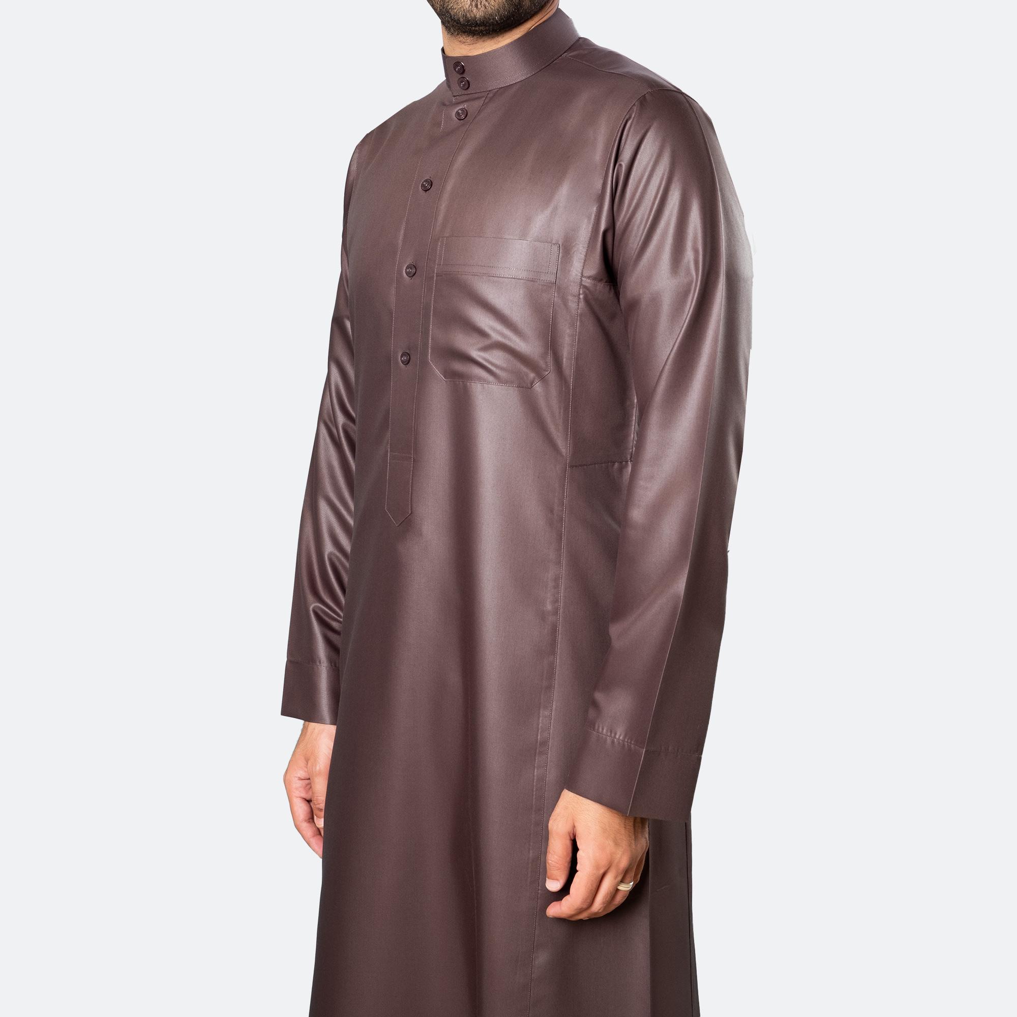 ثوب كلاسيكي فاخر بنّي غامق