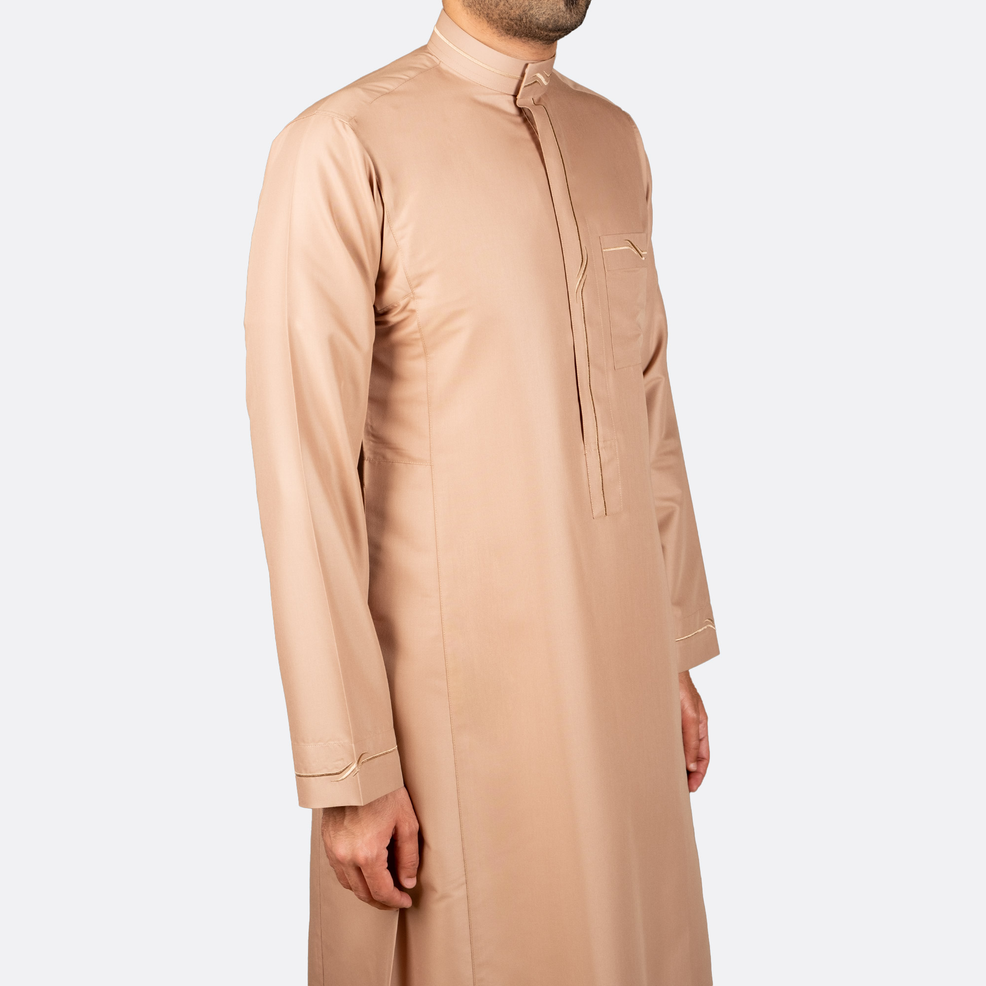 Modern Embroidery Thobe Camel Color