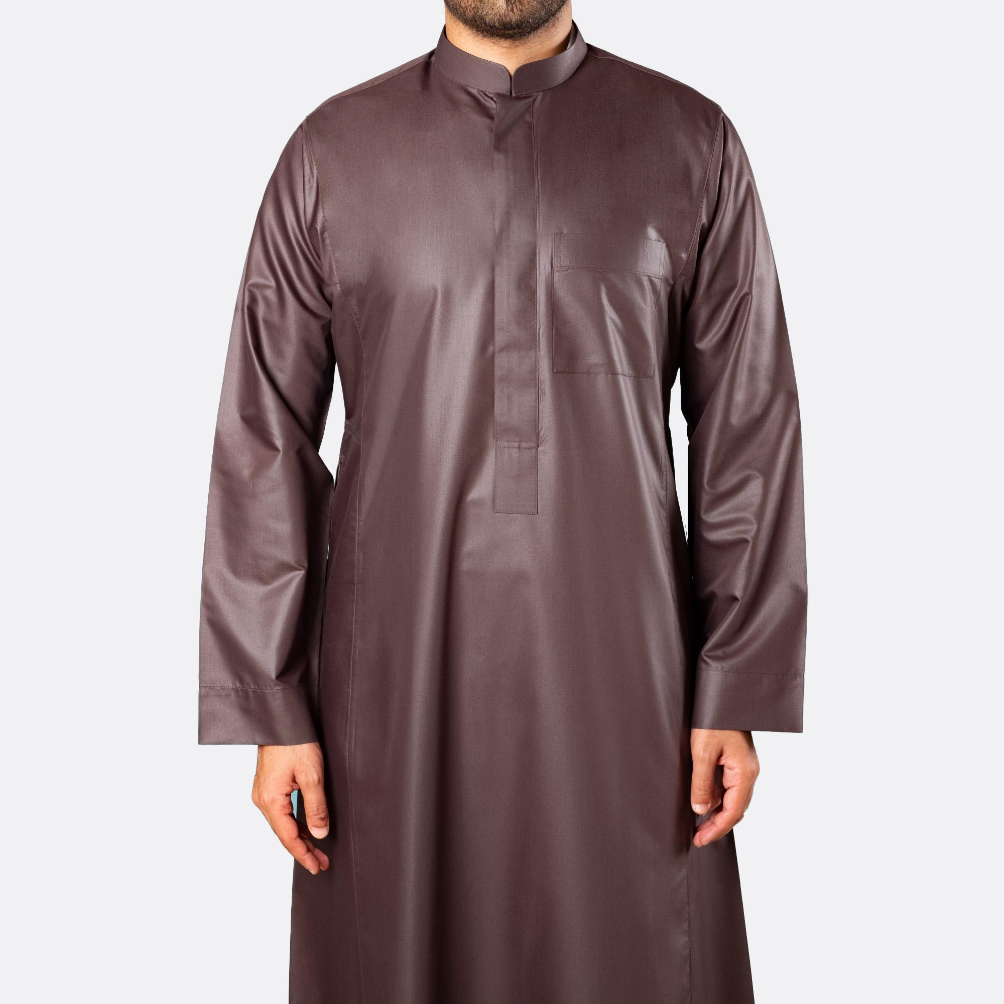 ثوب كلاسيكي فاخر بني غامق سحّاب