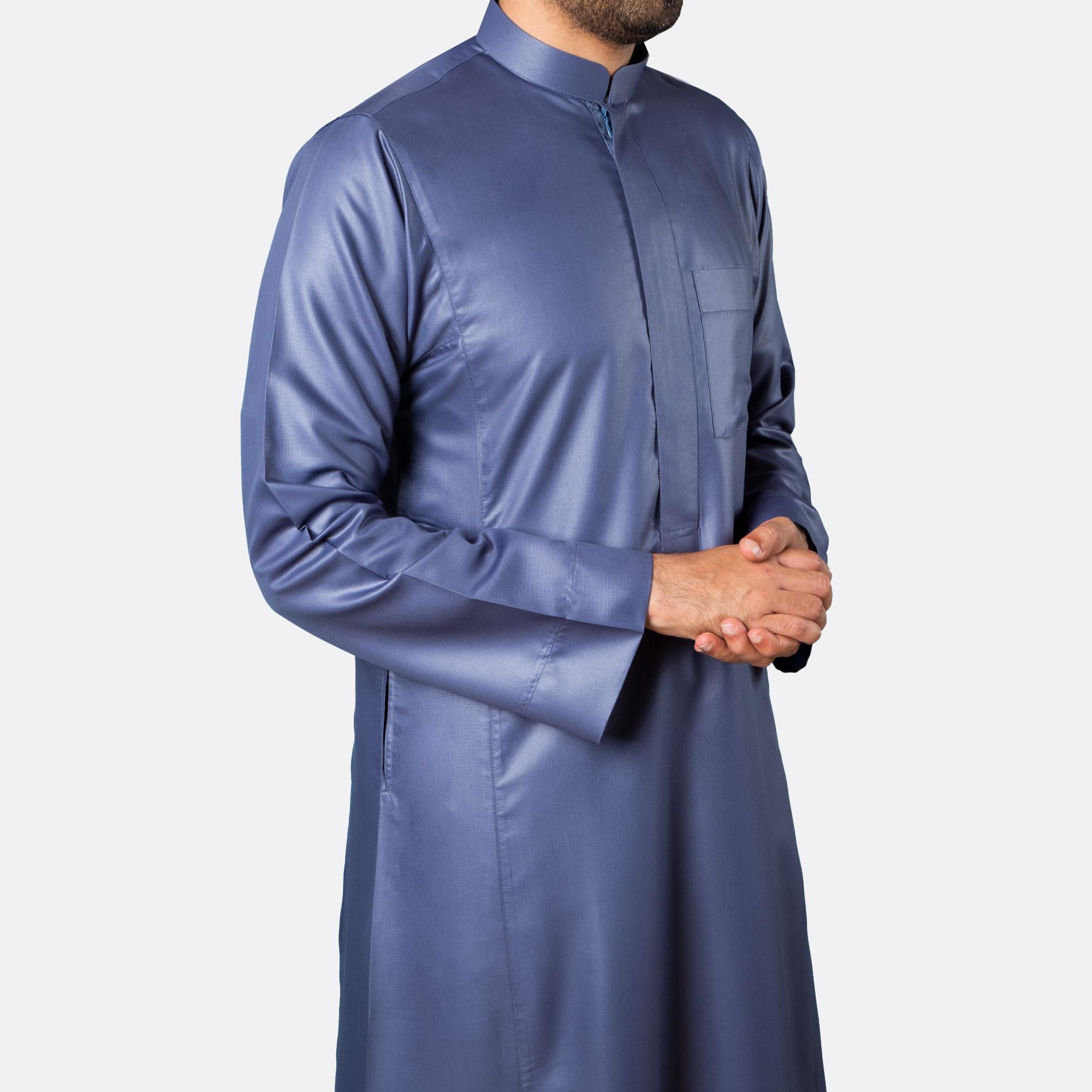 ثوب كلاسيكي فاخر أزرق غامق سحّاب
