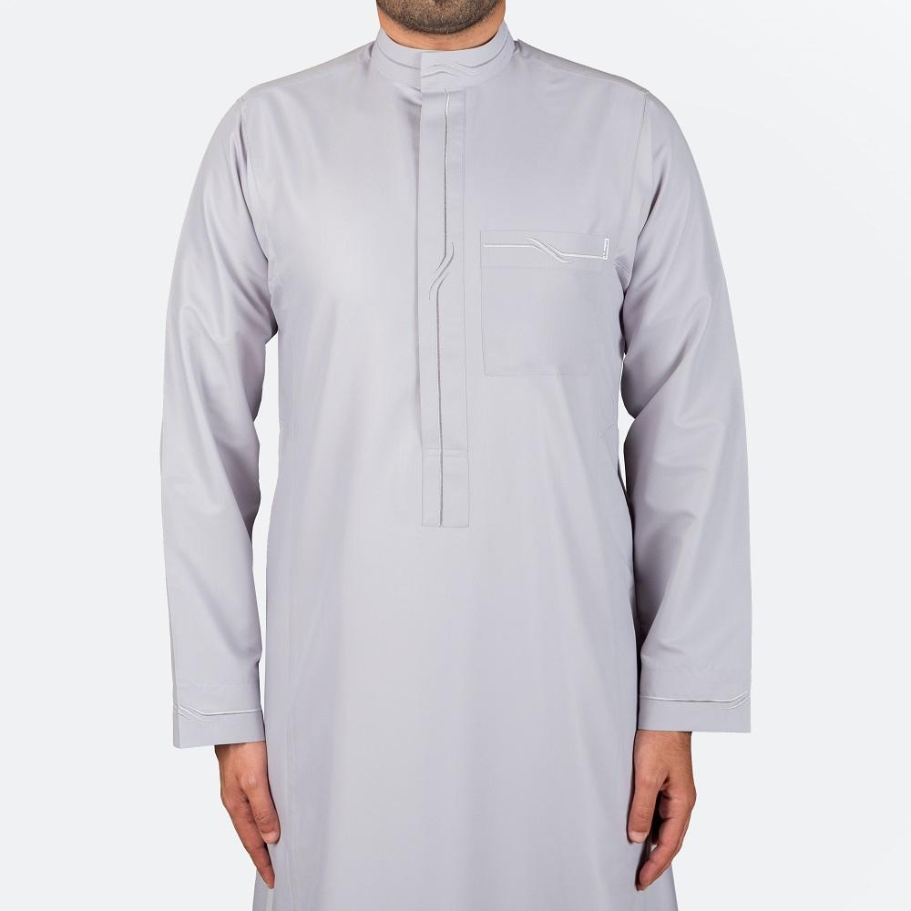 ثوب عصري مطرز لون فضي