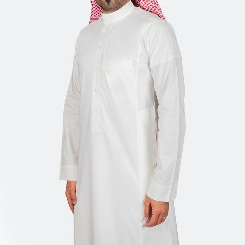 ثوب كلاسيكي قطن أبيض مطفي