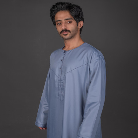 Contemporary Emirati Thobe ( Blue Gray)