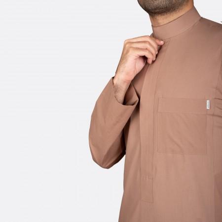 Classic Cotton Thobe Camel (Zipper)