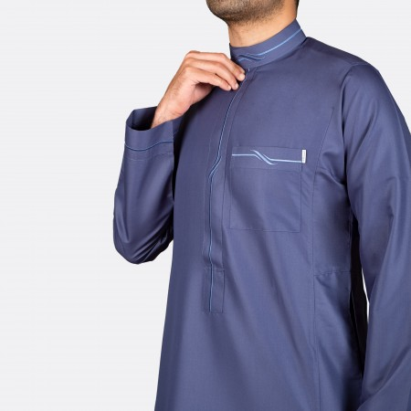 Modern Embroidery Thobe  Dark Blue