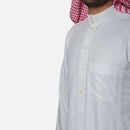 ثوب كلاسيكي فاخر أبيض مطفي