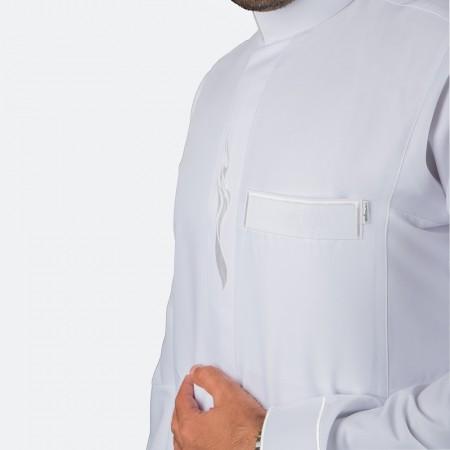 ثوب عصري مزخرف لون أبيض