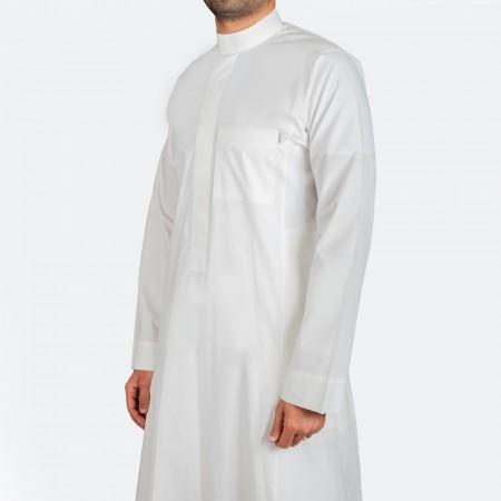 ثوب كلاسيكي قطن أبيض سحاب